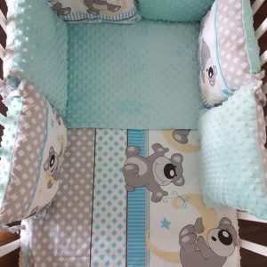 Minky & Cotton Bedding Sets with Pillow Bumpers