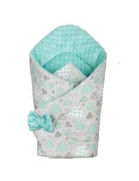 3in1 Baby Swaddle Wrap- mint hearts