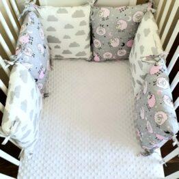 Premium pillow bumper- pink/grey sheep