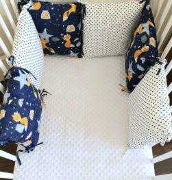 Premium pillow bumper- navy foxes
