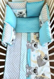 Minky & Cotton bedding set with pillow bumpers- turquoise moon teddies
