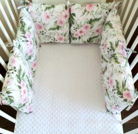 Premium pillow bumper- pink garden