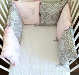 Premium pillow bumper- pink/grey rabbits