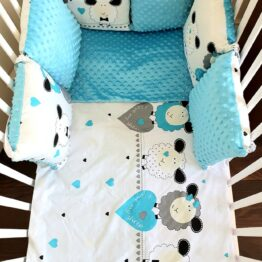 Minky & Cotton bedding set with pillow bumpers- turquoise sheep