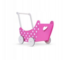 Wooden doll pram- pink dots