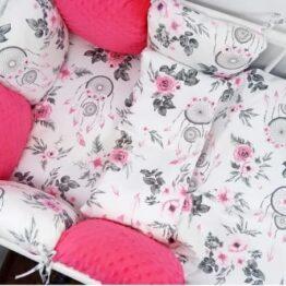 Premium Cotton bedding set with pillow bumpers- amaranth dream catchers
