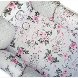 Premium Cotton bedding set with pillow bumpers- grey dream catchers