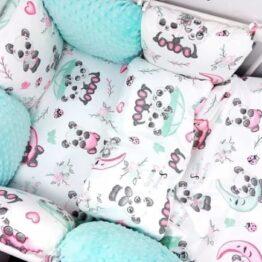 Premium Cotton bedding set with pillow bumpers- mint sweet pandas
