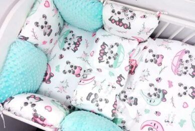 Premium Cotton bedding set with pillow bumpers- mint sweet pandas