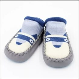 Baby anti slip booties- grey/blue