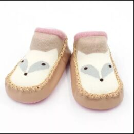 Baby anti slip booties- beige/pink