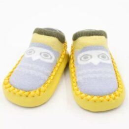 Baby anti slip booties- yellow/grey