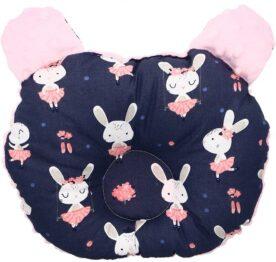 Head positioner teddy pillow- pink/navy rabbits