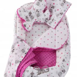 5in1 Baby Nest Set- pink teddies