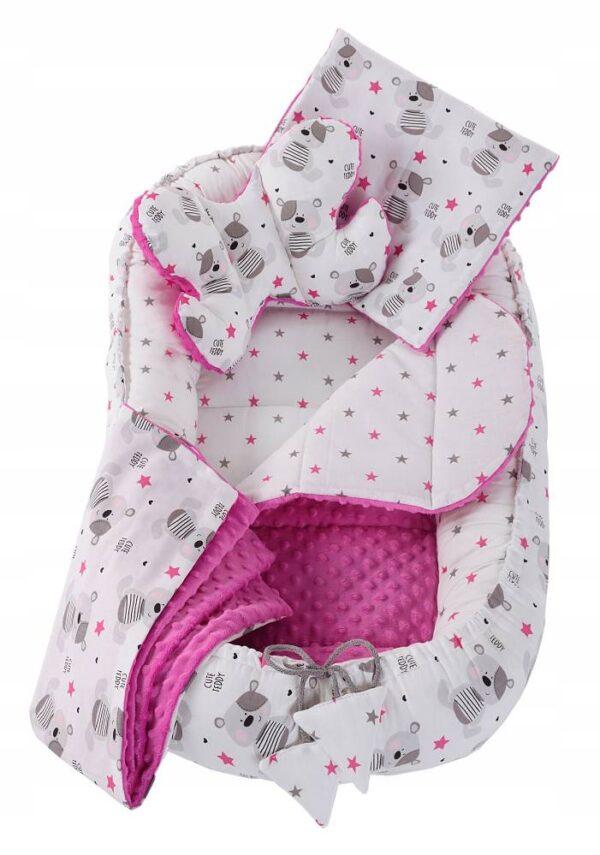 6in1 Baby Nest Set- pink teddies