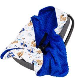 Warm Car seat blanket- dark blue teddies
