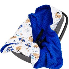 Warm Car seat blanket- dark blue teddies