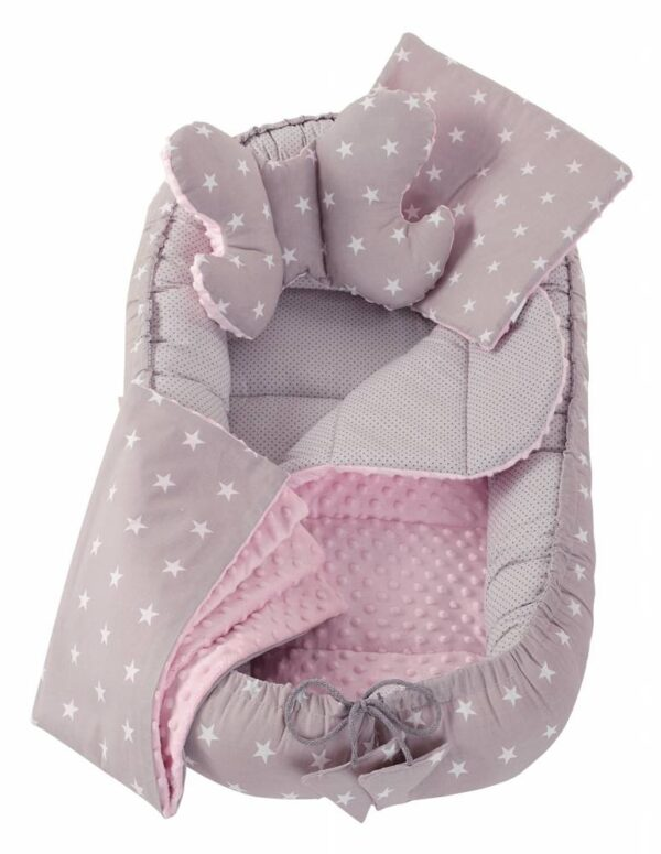 6in1 Baby Nest Set- pink/grey stars