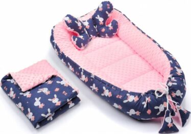 4in1 nest set- pink and navy rabbits