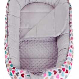 Baby Nest- grey hearts long