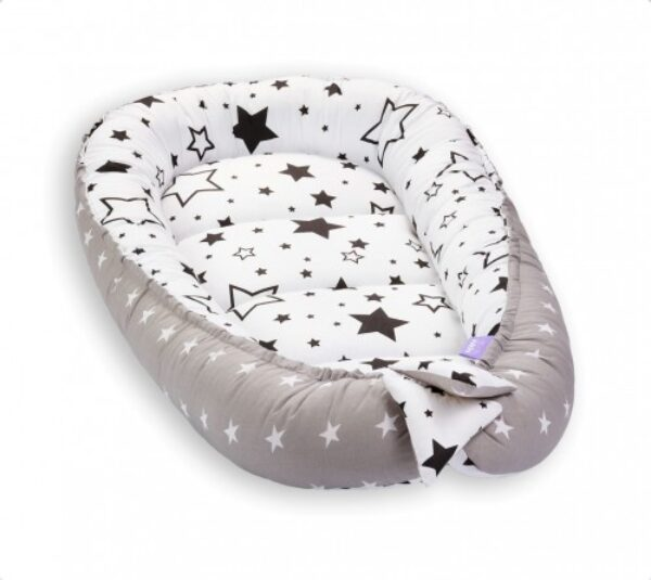 Baby Nest- grey/black stars