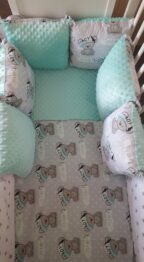 Minky & Cotton bedding set with pillow bumpers- mint teddy boy