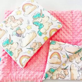 Premium minky blanket set- pink salmon unicorns