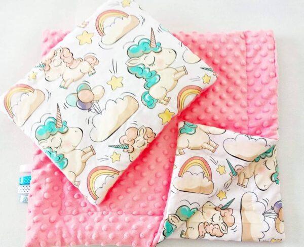 Premium minky blanket set- pink salmon unicorns