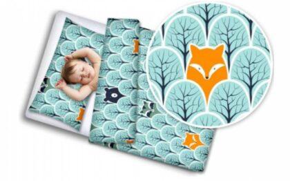 Toddler Bedding Set- mint foxes