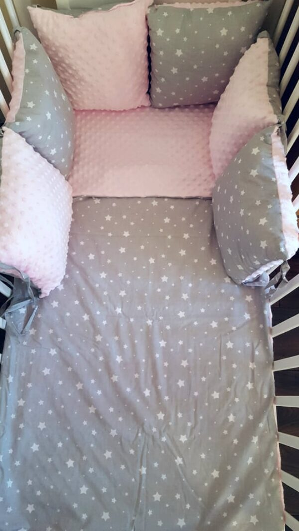 Minky & Cotton bedding set with pillow bumpers- pink stars