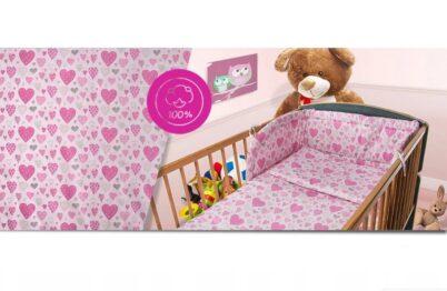 100% Cotton Bedding set- pink hearts