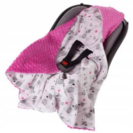 Car seat blanket- pink teddies