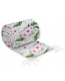 Cot bed bumper 190x30cm- pink garden