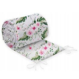 Cot bed bumper 420x30cm- pink garden