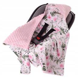 Car seat blanket- pink flowers