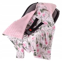 Car seat blanket- pink flowers