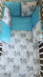 Minky & Cotton bedding set with pillow bumpers- turquoise teddy boy