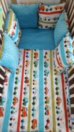 Minky & Cotton bedding set with pillow bumpers- turquoise cars