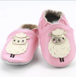 Genuine leather anti slip booties- pink sheep