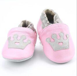 Genuine leather anti slip booties- pink crown