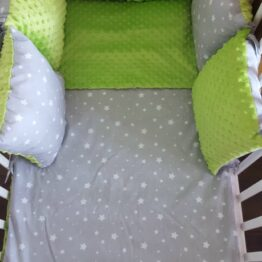 Minky & Cotton bedding set with pillow bumpers- green/grey stars