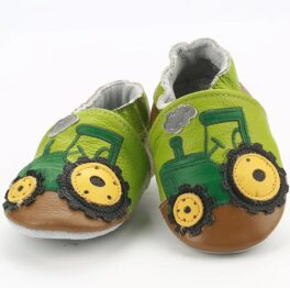 Genuine leather anti slip booties- green tractor