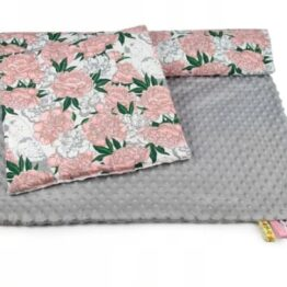Toddler Minky Bedding Set- grey/peonies