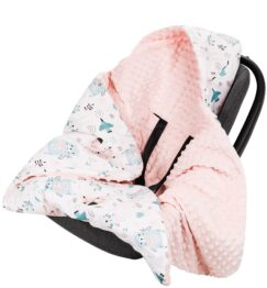 Warm Car seat blanket- peach teddies
