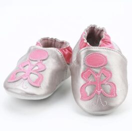 Genuine leather anti slip booties- silver butterfly