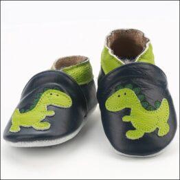 Genuine leather anti slip booties- green/navy dino