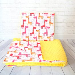 Minky blanket set- yellow giraffes