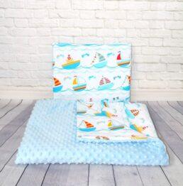 Minky blanket set- blue sailor