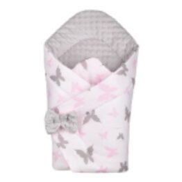 3in1 Baby Swaddle Wrap- grey/pink butterflies