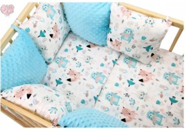 Premium Cotton bedding set with pillow bumpers- mint animals